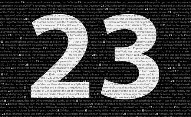 LE NOMBRE 23 <br> Le degré héro de l'écriture