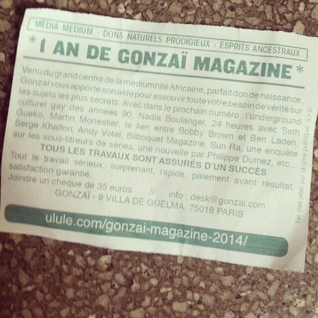 Gonzaï, un magazine définitivement fait avec des marabouts-de-ficelle.