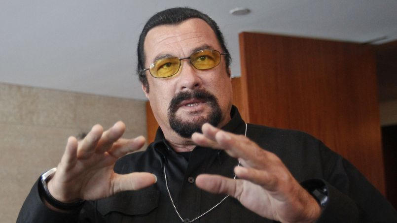 U.S. actor Steven Seagal speaks to the media at a news conference in Moscow