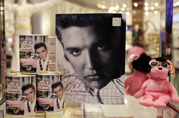 Elvis Presley merchandise is displayed at the official Viva ELVIS store at the Aria hotel-casino in Las Vegas