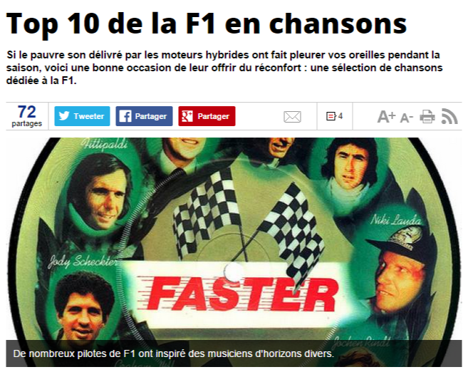 F1 - Top 10 de la F1 en chansons